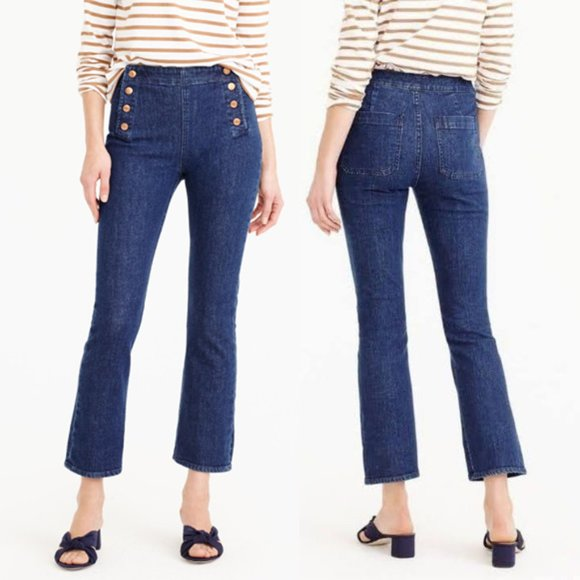 J. Crew Billie demi boot kick crop sailor jeans, dark wash